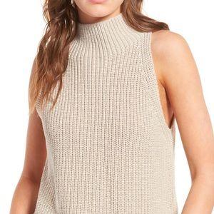 Madewell mock neck knit tank Medium tan/cream